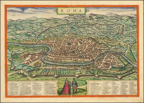 26-Rome Map By Georg Braun  &  Frans Hogenberg
