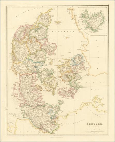 34-Iceland and Denmark Map By John Arrowsmith