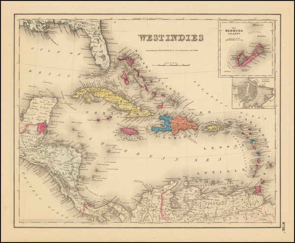 88-Caribbean Map By Joseph Hutchins Colton