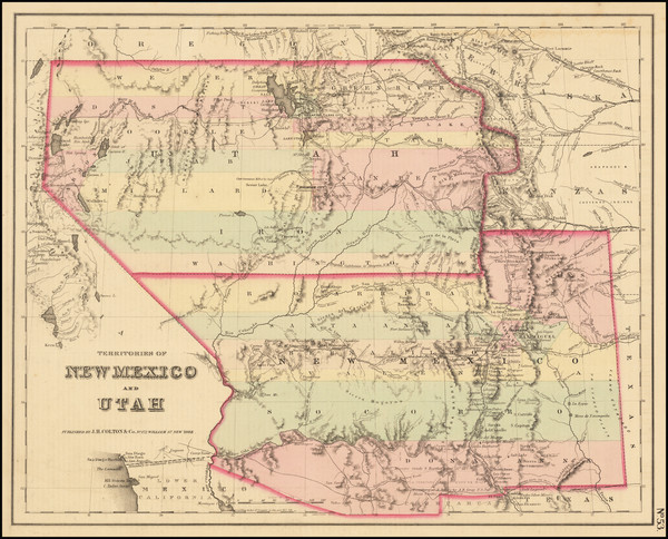 38-Arizona, Colorado, Utah, Nevada and New Mexico Map By Joseph Hutchins Colton