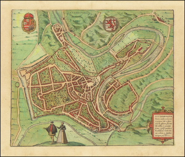 38-Luxembourg Map By Georg Braun  &  Frans Hogenberg