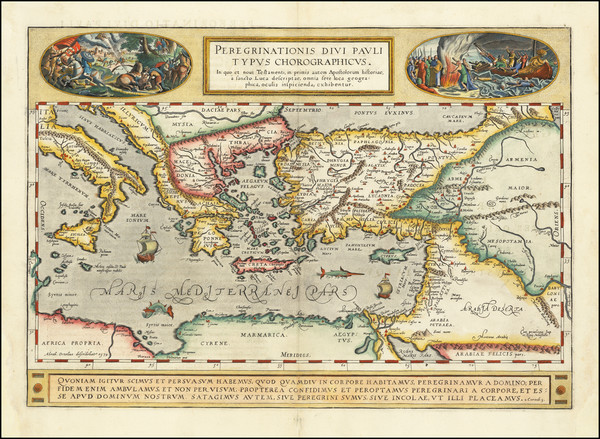 69-Greece, Mediterranean, Middle East, Holy Land and Turkey & Asia Minor Map By Abraham Orteli