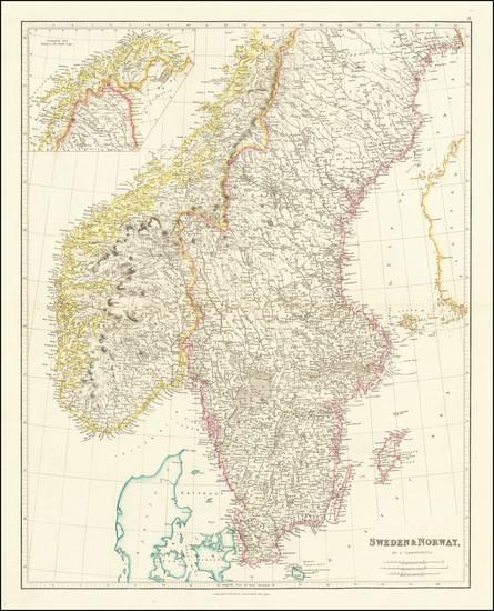 96-Scandinavia, Sweden and Norway Map By John Arrowsmith
