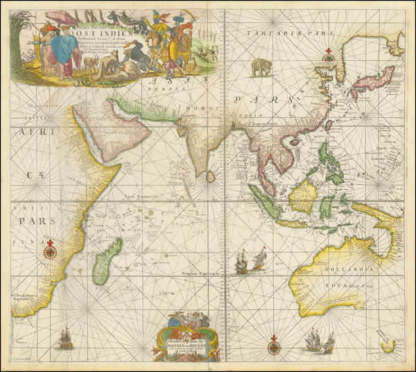 57-Indian Ocean, India, Southeast Asia, Philippines, Middle East and Australia Map By Johannes Van