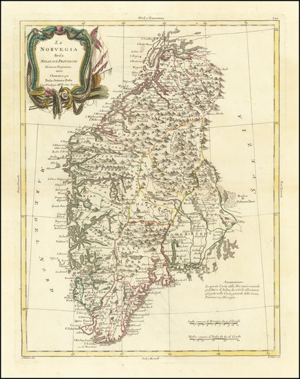 62-Norway Map By Antonio Zatta