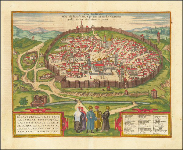 92-Holy Land and Jerusalem Map By Georg Braun  &  Frans Hogenberg