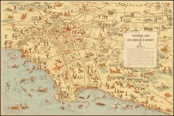 52-California, Pictorial Maps and Los Angeles Map By Lowell E. Jones