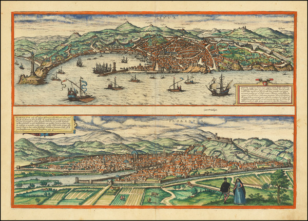 19-Italy and Other Italian Cities Map By Georg Braun  &  Frans Hogenberg