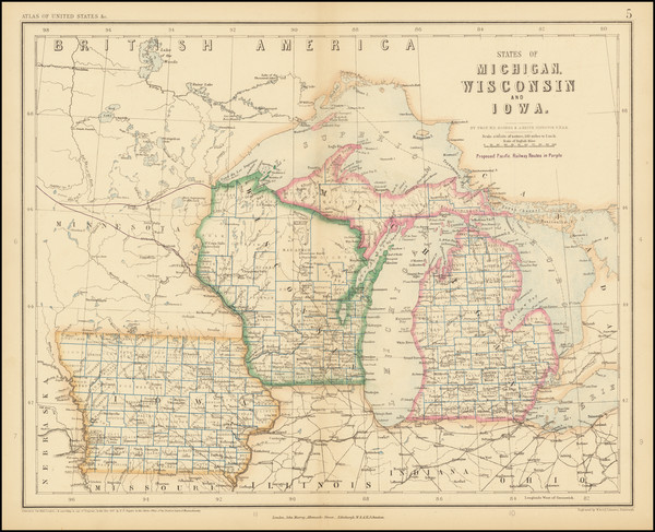 41-Michigan, Wisconsin and Iowa Map By Henry Darwin Rogers / Alexander Keith Johnston