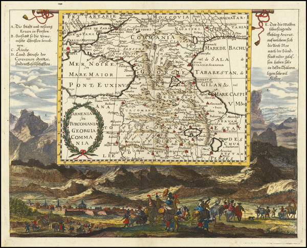 15-Russia, Persia and Turkey & Asia Minor Map By Johann Christoph  Wagner