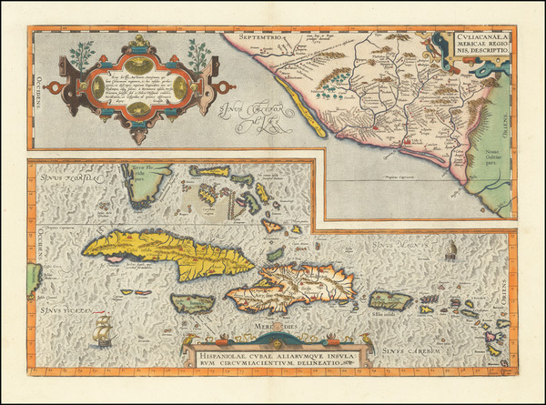 1-Mexico, Caribbean, Cuba, Hispaniola, Puerto Rico and Bahamas Map By Abraham Ortelius