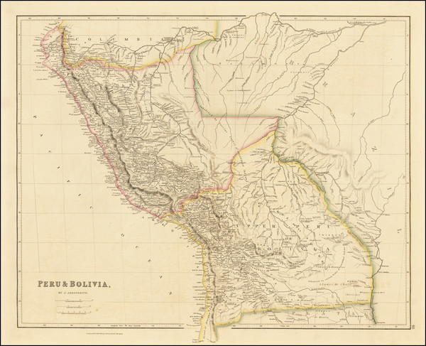 2-Paraguay & Bolivia and Peru & Ecuador Map By John Arrowsmith