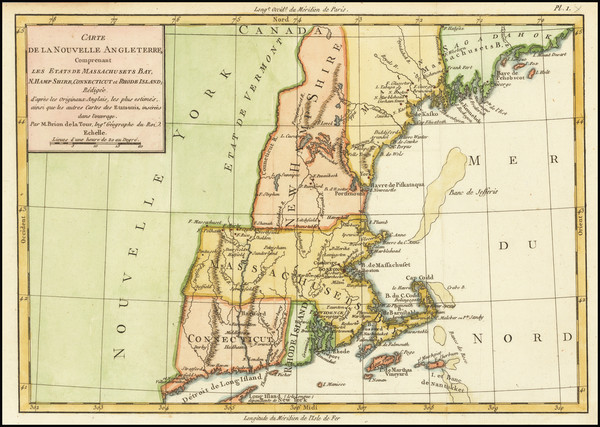 28-New England Map By Michel Rene Hilliard d'Auberteuil