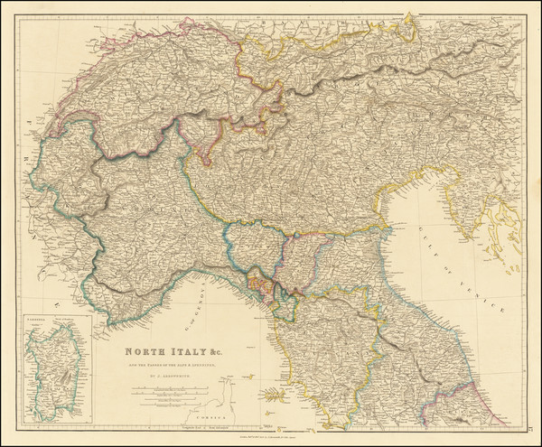 99-Austria and Northern Italy Map By John Arrowsmith