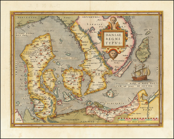 48-Sweden and Denmark Map By Abraham Ortelius