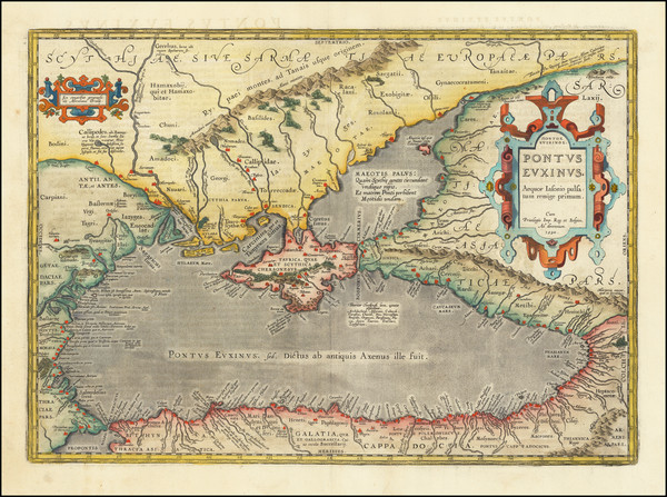 100-Ukraine, Romania, Turkey and Turkey & Asia Minor Map By Abraham Ortelius