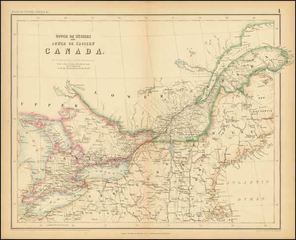 53-New England, Canada and Eastern Canada Map By Henry Darwin Rogers / Alexander Keith Johnston