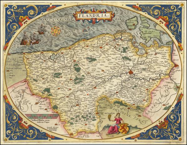 55-Belgium Map By Abraham Ortelius