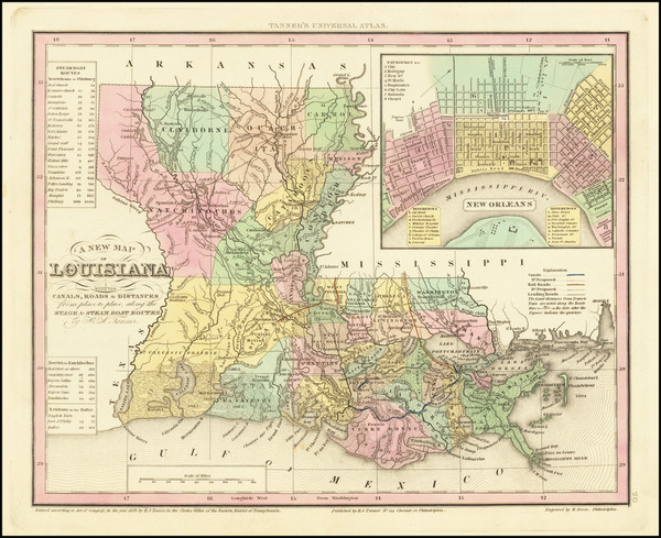 58-Louisiana and New Orleans Map By Henry Schenk Tanner