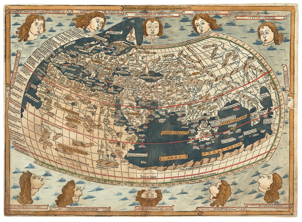 18-World and World Map By Claudius Ptolemy / Lienhart Holle