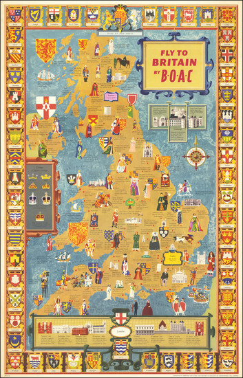 16-British Isles and Pictorial Maps Map By British Overseas Airways Corporation / Kempster and Eva