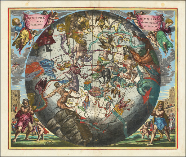 41-Western Hemisphere, Southern Hemisphere and Celestial Maps Map By Andreas Cellarius