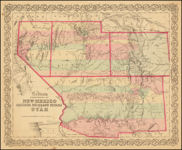 53-Southwest, Arizona, Colorado, Utah, Nevada, New Mexico, Rocky Mountains, Colorado and Utah Map