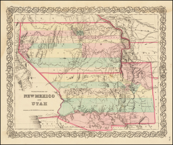 40-Arizona, Colorado, Utah, Nevada, New Mexico, Colorado and Utah Map By Joseph Hutchins Colton