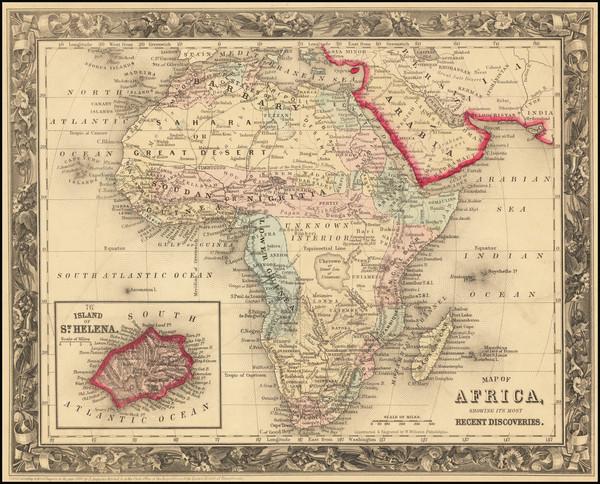 57-Africa Map By Samuel Augustus Mitchell Jr.