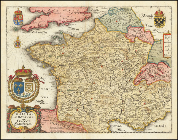 15-France Map By Matthaus Merian