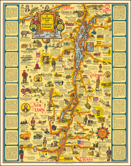 92-Vermont, New York State and Pictorial Maps Map By C. Eleanor Hall