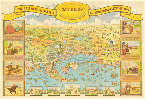 2-Pictorial Maps and San Diego Map By Don Bloodgood