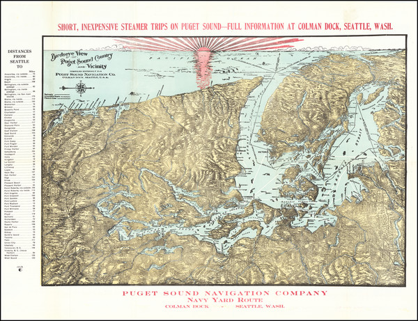 84-Washington, Canada and British Columbia Map By Puget Sound Navigation Company