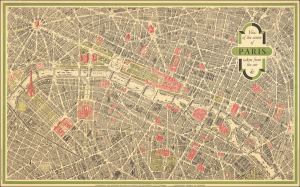43-Paris and Pictorial Maps Map By Georges Peltier / Blondel La Rougery