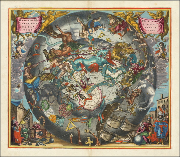 74-Eastern Hemisphere, Polar Maps and Celestial Maps Map By Andreas Cellarius