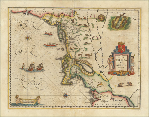 53-New England, New York State and Mid-Atlantic Map By Willem Janszoon Blaeu