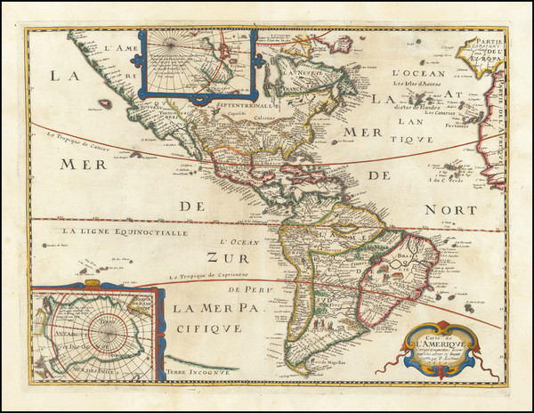 51-America Map By Melchior Tavernier / Petrus Bertius