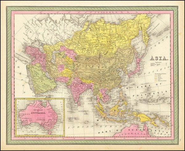 51-Asia and Australia Map By Samuel Augustus Mitchell