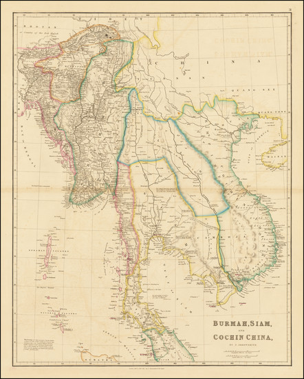 74-Southeast Asia, Malaysia and Thailand, Cambodia, Vietnam Map By John Arrowsmith