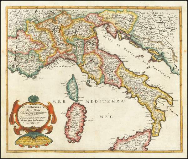 86-Italy Map By Melchior Tavernier