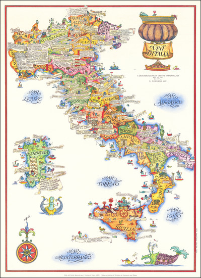 80-Italy and Pictorial Maps Map By Anonymous