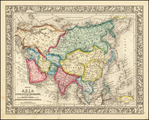 76-Asia Map By Samuel Augustus Mitchell Jr.