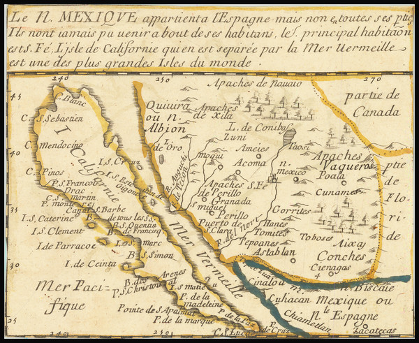 49-Southwest, Baja California, California and California as an Island Map By Pierre Du Val