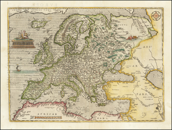 65-Europe Map By Abraham Ortelius