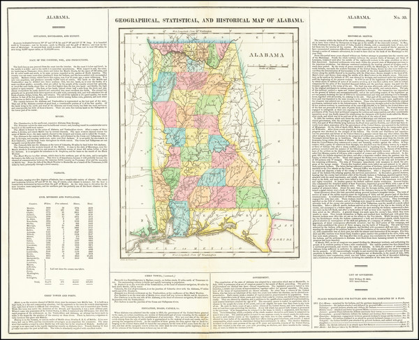100-Alabama Map By Henry Charles Carey  &  Isaac Lea