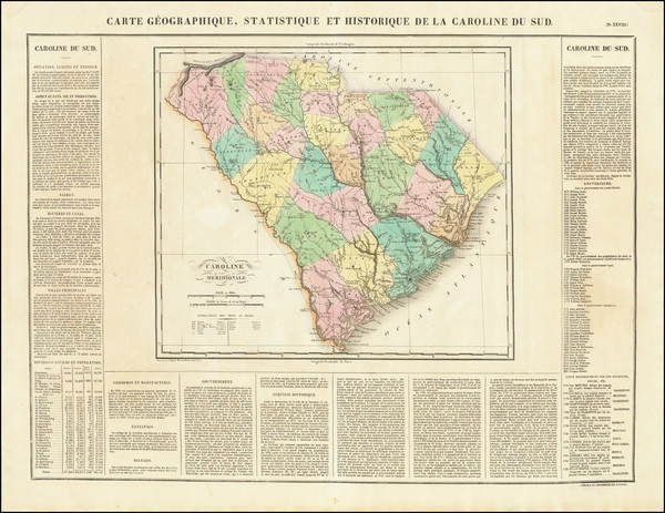 50-South Carolina Map By Jean Alexandre Buchon