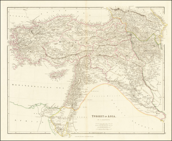 59-Cyprus, Central Asia & Caucasus and Turkey & Asia Minor Map By John Arrowsmith