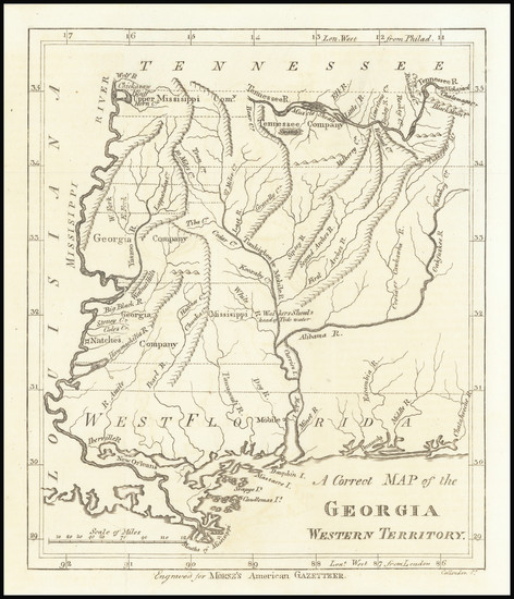 52-South, Alabama, Mississippi and Georgia Map By Jedidiah Morse  &  Charles Dilly