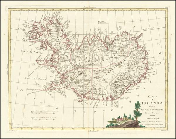 71-Iceland Map By Antonio Zatta