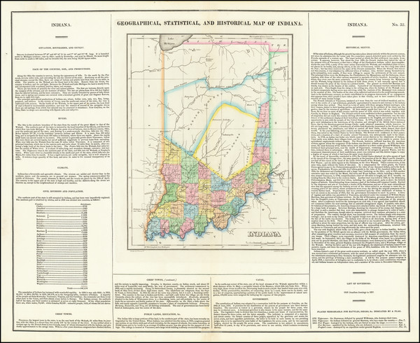 52-Indiana Map By Henry Charles Carey  &  Isaac Lea